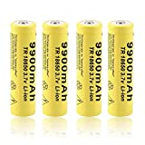 4 pcs 18650 Battery Li-ion 9900mAh 3.7V Rechargeable Battery Button Top Battery