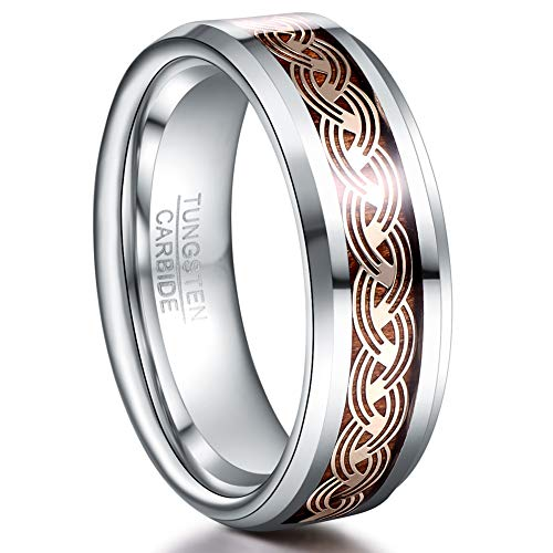 NUNCAD 8mm Celtic Wedding Ring for Men Silver Wood Inlay Tungsten Carbide Engagment Band Size 7