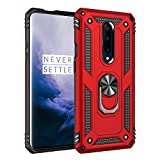 Korecase Compatible with Oneplus 7 Pro Case, Extreme Protection Military Armor Dual Layer Protective Cover Built-in 360 Degree Swivel Ring Kickstand Red