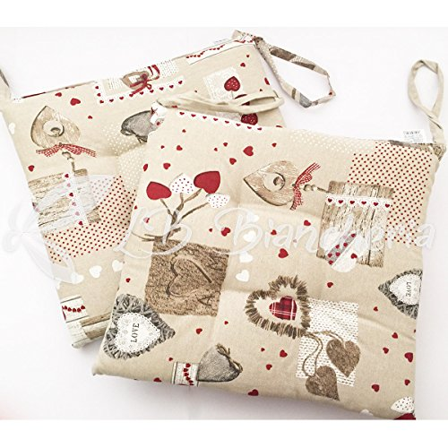 R.P. Set 4 Cuscini Sedia con Lacci Holly Country Chic TIROLO - Made in Italy - Bordeaux