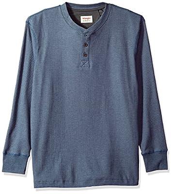 Wrangler mens Long Sleeve Waffle Henley Shirt, Vintage Indigo, Large US
