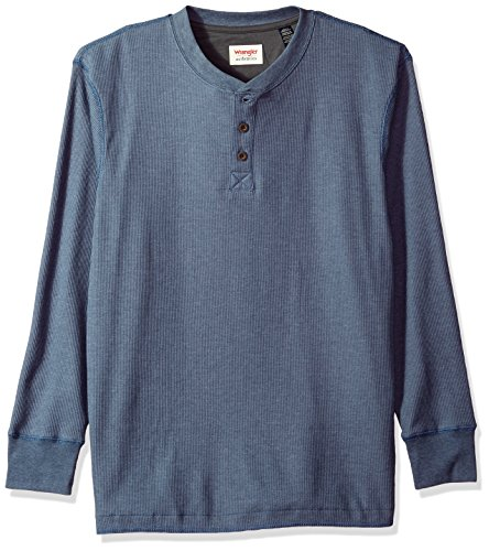 Wrangler Authentics Men's Long Sleeve Waffle Henley, vintage indigo, Large