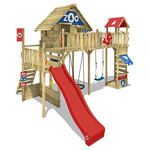 WICKEY Spielturm Klettergerüst Smart Ranger mit Schaukel & roter Rutsche, Stelzenhaus mit Sandkasten, Kletterleiter & Spiel-Zubehör