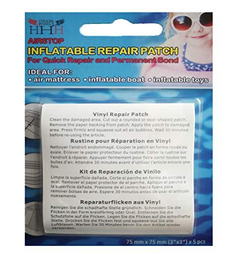 3-H Reparación Parches, 5 Piezas Parche Reparacion Piscina Parche Inflable Transparente PVC Autoadhesivos Kit para Piscinas Inflables Camas de Agua Juguetes, 7.5 x 7.5 cm (1 Pack)
