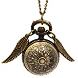 Vintage Flying Ball Angel Wing Pendant Pocket Watch Necklace Chain Kids Gift