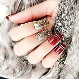 24 piezas de prensa cuadrada en las uñas, puntas de uñas de cubierta completa, productos de manicura para mujer, uñas artificiales de novia con palo de gule en las uñas