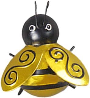 VOSAREA Metal Bee Wall Art Decor Sculpture Hanging Insect Decoration for Indoor Outdoor Home Garden Bedroom Ornament S