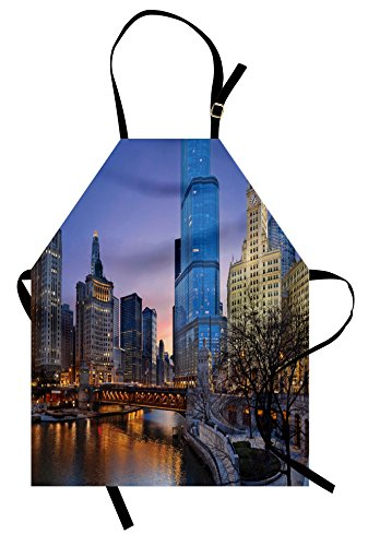 Ambesonne Landscape Apron, USA Chicago Cityscape with Rivers Bridge and Skyscrapers Cosmopolitan City Image, Unisex Kitchen Bib with Adjustable Neck for Cooking Gardening, Adult Size, Brown Violet
