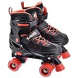 M.Y X-Skate Patines de Cuatro Ruedas Ajustables Negro y Rojo
