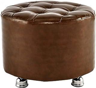 LLYU Banc de canapé en Cuir PU Souple et Repose-Pieds Rond en Bois 4 Pieds Marron, Peut être utilisé dans Le Salon/Chambre...