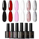 VOXURY Esmalte Semipermanente Kit, 6 Colores Negro Blanco Rosa Esmalte en gel Soak Off UV LED Juego...