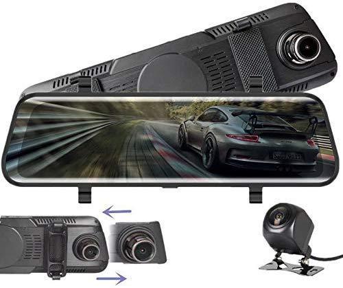 EVR Autokamera Dash cam 10' Zoll Touch Screen Dashcam Rückspiegel Full HD 1080P Weitwinkel Frontkamera und 720P Rückfahrkamera mit Nachtsicht Parkplatz-Überwachung Bewegungserkennung GPS G-Sensor
