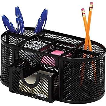 Rolodex Mesh Pencil Cup Organizer Four Compartments Steel 9 1/3 x4 1/2 x4  Black  1746466