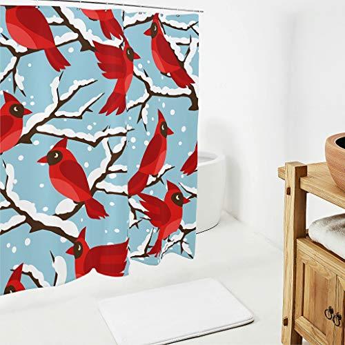 BOBONC rode spatpatroon douchegordijnen kleurvast gordijn rode vogel badkamer gordijn 100% polyester