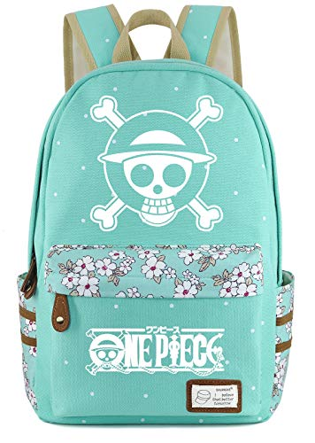 Roffatide Anime One Piece Luminous Backpack Straw Hat Crew Book Bag Canvas Dots School Bag