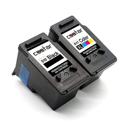 CSSTAR Remanufacturado Cartuchos Tinta Reemplazo para PG-510XL CL-511XL para Pixma iP2700 iP2702 MP250 MP280 MX320 MP230 MP240 MP495 MP260 MP270 MP490 MX340 MX350 MX360 MX410 Impresora - Negro, Color