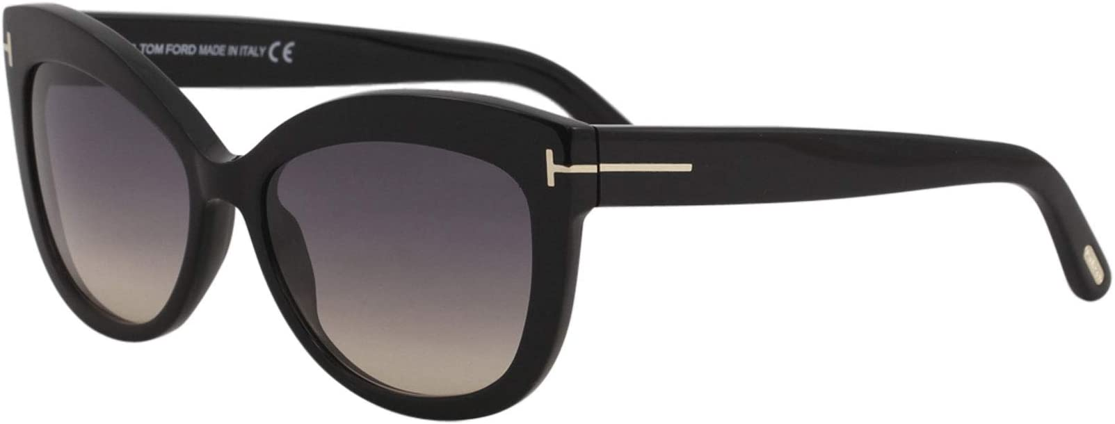 Tom Ford Women's Alistair FT0524 01B Wayfarer Sunglasses, Black, 56 mm