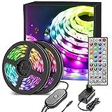 Nallee Tiras LED 20M, RGB 5050 Música Tiras de Luces LED con IR Control Remoto,Sincronización de Música, Tira de Luz LED Para Decoración de Habitación, Fiestas, Cocina, Techo