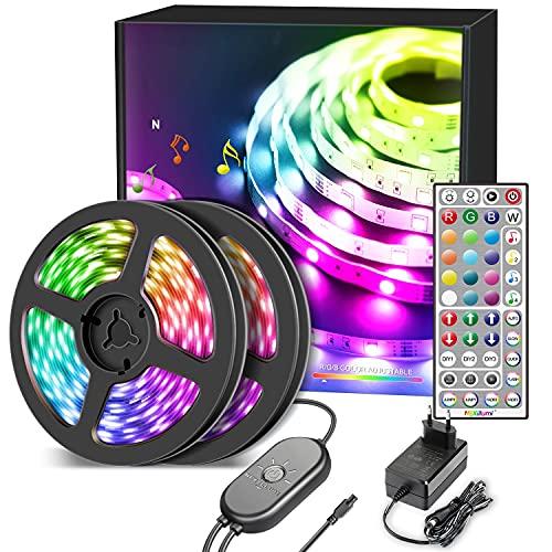 Nallee Tiras LED 20M, Bluetooth 5050 RGB Tiras de Luces LED con IR Control Remoto,Sincronización de Música, Tira de Luz LED Para Decoración de Habitación, Fiestas, Cocina, Techo