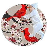 エリアラグ軽量 鳥蝶桜 フロアマットソフトカーペット直径39.4インチホームリビングダイニングルームベッドルーム