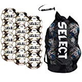 SELECT Viking DB V20 Soccer Ball, 12-Ball Team Pack with Duffle Ball Bag and Ball Pump, White/Grey/Orange, Size 5
