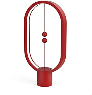 Heng Balance lamp, Switch in mid-air, USB Powered LED Table Lamp, Design Light – Unique Light for Table lamp, Desk lamp, Warm Eye-Care Lamp, Contemporary Soft Light, Office, Home - Red