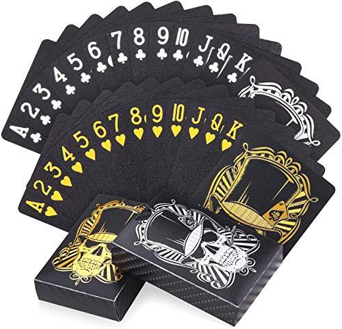 LLKK 2 Barajas de Naipes Negros Frescos,Juego de Cartas de póquer a Prueba de Agua con Caja,para Fiestas y Juegos