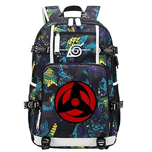 GOYING Uzumaki Naruto/Sharingan Anime Backpack Middle Student School Rucksack Daypack for Women/Men with USB-C