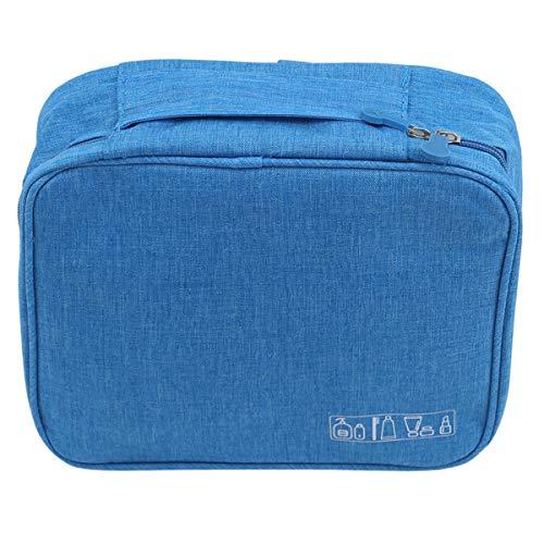 SHIJIAN Lavage Sac De Rangement Zipper Poignée Fourre-Tout Portable Organisateur Comestic Voyage Salle De Bains Sac De Toilette,Bleu