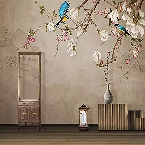 Aangepaste foto wallpaper muurschildering bloem vogel magnolia woonkamer TV achtergrond muurschildering Wallpaper Home Decoration wandpapier fotobehang 3d effect behang behang bos vintage 200 x 140 cm.
