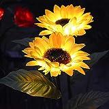 Luces solares al aire libre, paquete de 2 luces impermeables de girasol, adornos de jardín al aire libre, luces solares de jardín para decoración de patio