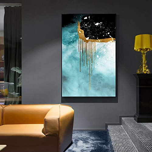 QAZEDC Pintura Decorativa Anillo de Oro Arte de la Pared Tiffany Green Painting Big Gold Poster Print para salón Salón-60x80cm