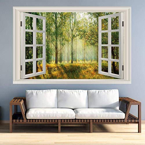Vinilo decorativo para pared, diseño de paisaje de ventana, escena de naturaleza