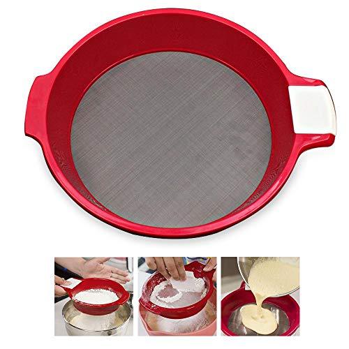 Haushaltssieb Mehlsieb aus Edelstahl mit feinem Mesh-Sieb für Lebensmittel, Tee, Zucker, Mehlsieb für Küche und Zuhause, 21.5 x 17 cm