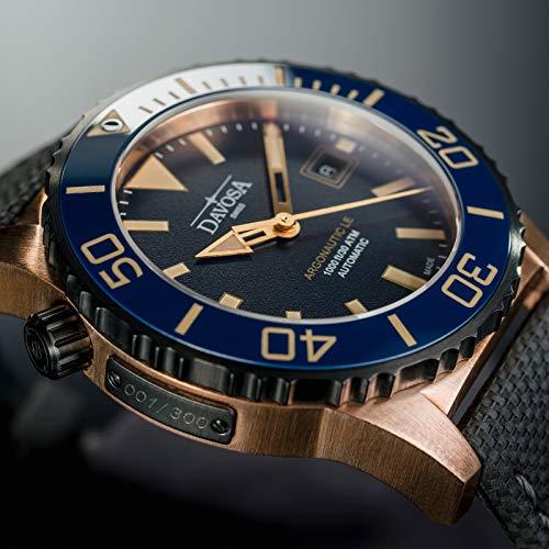 Davosa Swiss Automatic Diver's Watch - Luxury Analog Argonautic Waterproof Sport Wrist Watch for Men with Stylish Bracelet (Leather)