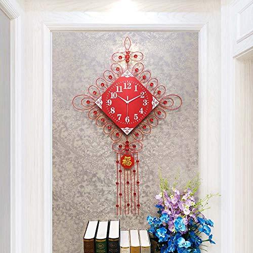 ZXL creatieve Chinese knoop muur klok moderne woonkamer minimalistische moderne klok grote muur klok kwarts klok feestelijke Chinese stijl