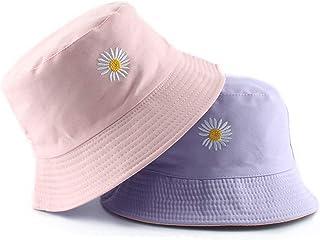 Flower Embroidery Hat Summer Travel Bucket Beach Sun Hat UPF 50+ Sun Protection Reversible Vistor Outdoor Cap for Men&Women