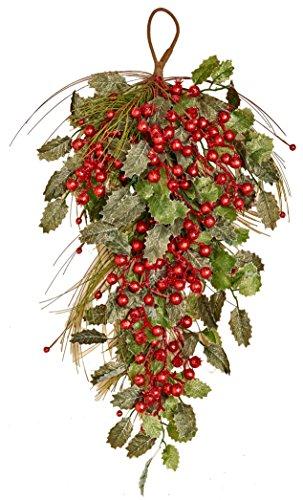 "Worth Imports 28"" Pine Berry Holly Leaf Teardrop"