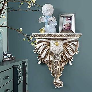 BiuBiu Home Bohemia Resin Floating Wall-Mounted Shelf Luxury Elephant Floating Shelf Wall Art (Light Gold)