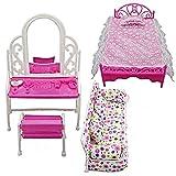 Luxuriöses Wohnzimmer-Set, Puppenhausmöbel, Miniatur-Schlafzimmer, Komplett-Set, 8-teilig, für Puppenhaus, Sofa-Set, Bett-Set, Kleiderbügel für Puppenhaus