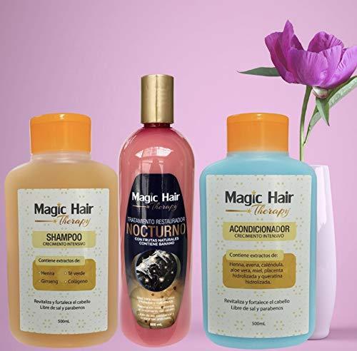 Magic Hair Therapy Tratamiento Capilar Restaurador Nocturno & Shampoo y Acondicionador Crecimiento Intensivo
