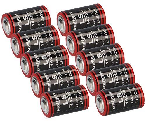 10x Lithium 3,6V Batterie LS 14250-1/2 AA ER14250 Li-SOCl2 LS14250 AKKUman Set (10er)