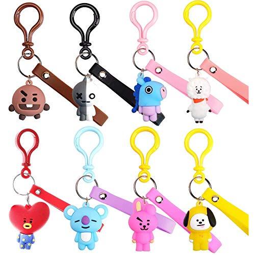 15 Piezas BTS Animal Llaveros Colgante linda caricatura BTS Doll Car Key Ring...