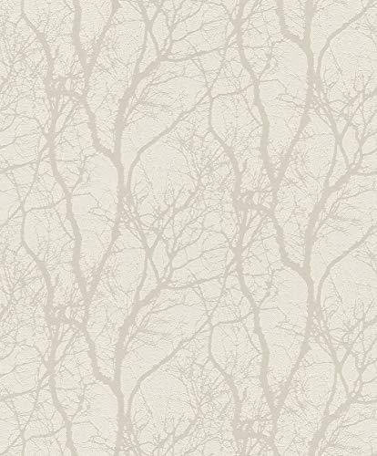 Rasch Tapeten Vliestapete (floral) Weiß 10,05 m x 0,53 m Tapetenwechsel 633252 Tapete, 10.05 0.53 m