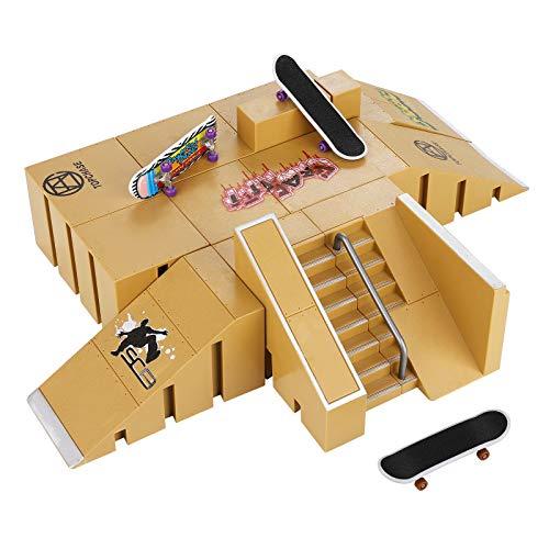 HOMETALL Skate Park Kit, Skate Park Kit Ramp Parts for Finger Skateboard Ultimate Parks Training Props. (8PCS)
