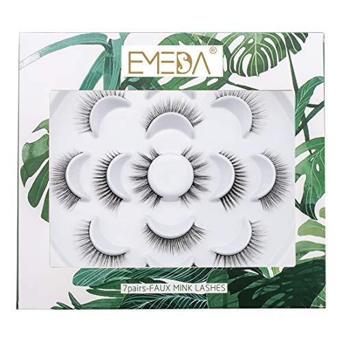 EMEDA Ciglia Finte Naturali 3D Multipack 7 Paia 4 stile, Ciglia morbide e soffici fatte a mano per il trucco degli occhi, ciglia finte dall'aspetto naturale 3D 5D false eyelashes