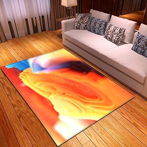Alfombra Estampada Cuadro Abstracto Amarillo Naranja Azul Rosa Alfombra Antideslizante Alfombra Lavable 120 x 170 cm para la Entrada de casa, baño o Dormitorio