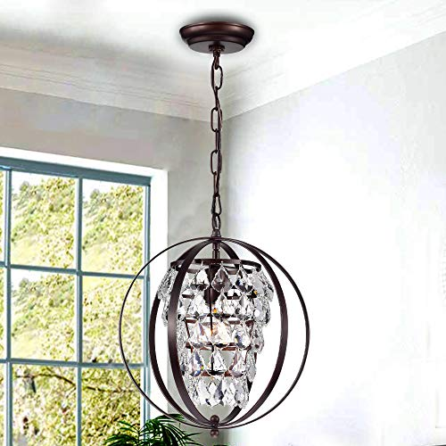 Globe Chandeliers Crystal Bronze Chandelier Lighting Vintage Light Fixture 1 Light 17046