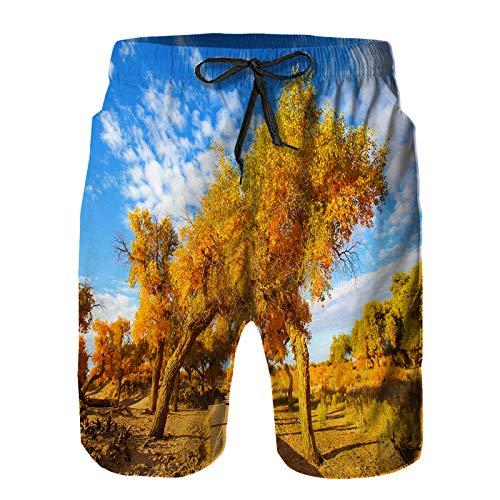 Hombres Verano Secado rápido Pantalones Cortos Playa populus otoño Sol Tomada en euphratica Trajes de baño Correr Surf Deportes-XL