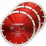 LXDIAMOND 3 discos de corte de diamante de 200 mm para hormigón, mampostería, ladrillo, piedra, universal, compatible con Lamello Tanga DX200, fresadora de montaje, 200 mm en calidad profesional